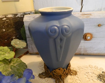 On Sale.................Antique Art Nouveau Coors Colorado Pottery Blue Belden Vase Metal Stand