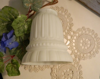 Vintage Art Deco Satin Milk Glass Ribbed Light Lamp Shade