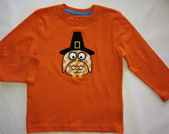 Custom Boutique Toddler Long Sleeve Tee with Pilgrim Owl Appliqué for the whole family!  TODDLER SIZE LISTING