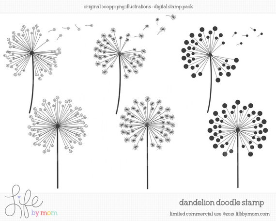 Items Similar To Doodle Dandelion Clipart Illustrations