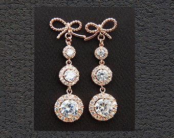 CZ Bridal Jewelry. Rose Gold Bridal Earrings 18002ERG. Twisted Ribbons CZ Earrings. Long dangle earrings. Wedding jewelry, Bridesmaid gift