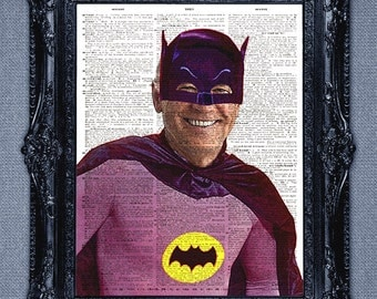 Joe Biden is Batman dictionary art print -the Dark Knight superhero art print upcycled vintage dictionary page book art print
