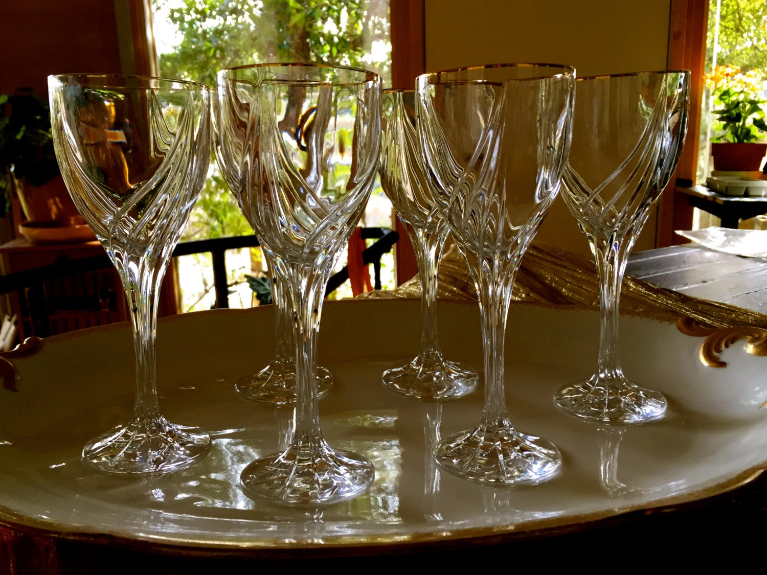 Vintage set of six crystal gold trimmed lenox debut wine - Lenox gold rimmed wine glasses ...