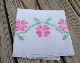 Vintage Embroidered Pink Flowers Pillowcase with White Crocheted Edge