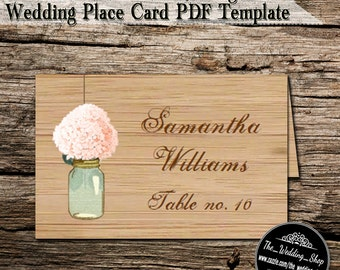 Instant Download- Rustic Hydrangea & Mason Jar DIY Printable PDF Wedding Reception Place Cards/ Name Cards