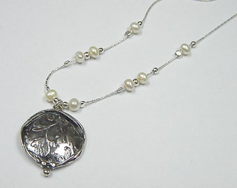 Sterling Silver Round Leafy Texture Pendant With Pearl Stations On Chain