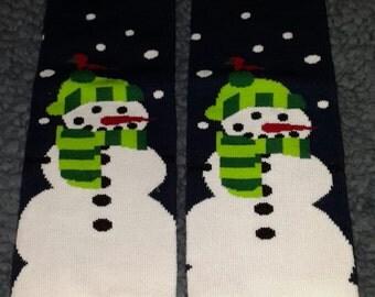 Blue snowman leg or arm warmers