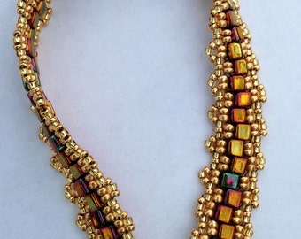 Gold Rainbow Handmade Beaded Peyote Bracelet