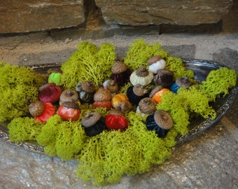 8 Handmade Velvet acorns with real acorn caps.