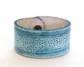 Teal and beige bracelet botanical leather bracelet