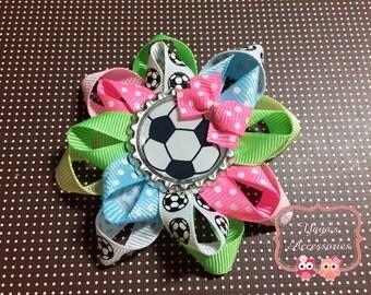 Soccer Hair Bow, Soccer Bow, Soccer Loopy Flower Bow
