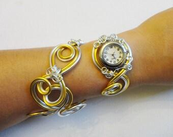 Watchband - Spare Duo Can only silver and gold foil  Bracelet montre - Piéce Unique- Duo d'aluminium argent et or