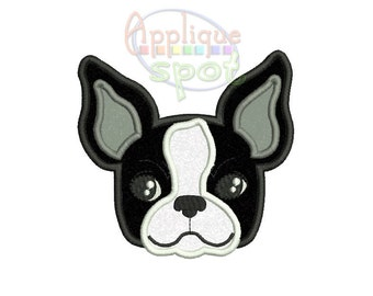 Boston Terrier Puppy Dog Baby Boy - 4x4 5x7 6x10 Applique Design Embroidery Machine -Instant Download File