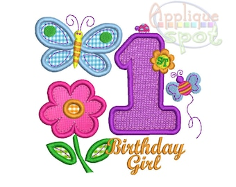 Hugs and Stitches First 1st Birthday Girl 1 - 4x4 5x7 6x10 Applique Design Embroidery Machine -Instant Download File
