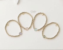 Beaded bracelet_Gold plated ball beads_Crystal pendant