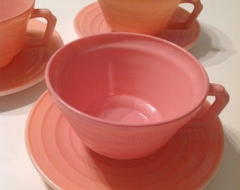 Pink Moderntone/Platonite Teacup and Saucer