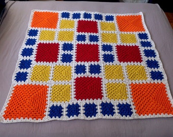 Crochet Blanket Pattern pdf: ASA Baby 1 - granny square pattern, end-saving crochet join and modern layout, RH & LH schematics, scrap-ghan
