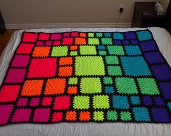 Crochet Blanket Pattern pdf: ASA Twin 3 - granny squares with an end-saving crochet join and modern layout, RH & LH schematics, scrap-ghan