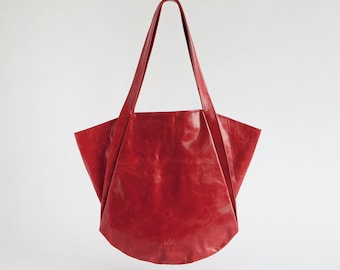 Red leather tote bag - leather tote bags - Red tote bags - Red leather bag - leather shoulder bag - red leather handbag