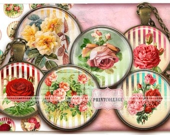 Victorian Roses Flowers Digital Collage Sheet Cabochon images 1.5 inch 18mm 14mm 1 inch circle Printable Instant download bottle caps c137