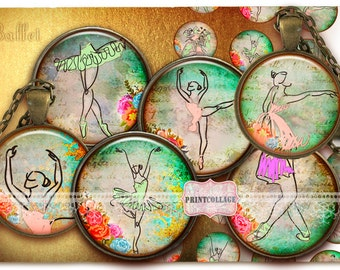 Ballet / Ballerina Cabochon images Digital Printable Sheet 1.5 inch 1 inch 18 mm, 14 mm round images Printable images Instant download C176