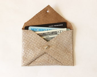 Repurposed Leather Card Holder Mini Wallet / Perforated Metallic