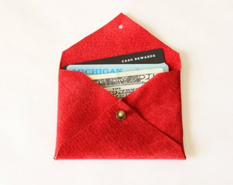 Repurposed Suede Card Holder Mini Wallet / Cherry Red