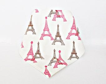 Eiffel Tower Paris Dribble Bib Drool Bibana Baby Girl Bandana Scarf France Pink and Brown