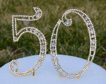 """New 5"""" Gold Crystal Bling Rhinestone NUMBER (50) Cake Topper 50th Birthday Parties Anniversary Free US Shipping CT501"""