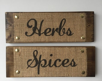 HERBS & SPICES *set of 2* Wood Sign Burlap Print Rustic Country Style House Decor