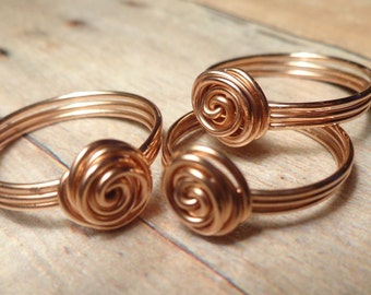 Set of 3 to 10, Thank You for Being My Bridesmaid Ring, Bridesmaid Gift Set, Rose Gold Bridesmaid Jewelry Set, Bridesmaid Knot Ring
