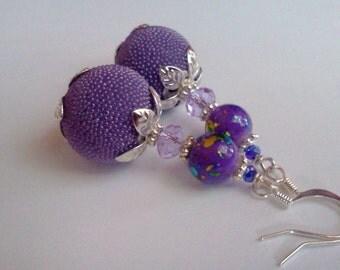 Purple Dangle Earrings, Lavender Dangles, Hand Painted Purple Earrings, Micro Bead Earrings, Purple Micro Beads, Purple Earrings, Painted