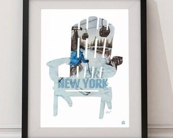 Ski New York Adirondack Chair Poster