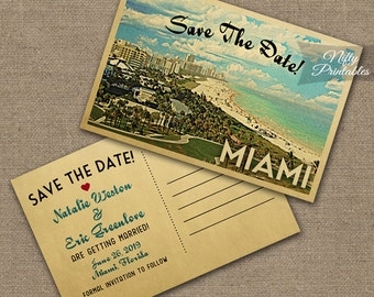 Miami Save The Date Postcard - Vintage Travel Miami Florida Save The Date Cards - Printable South Beach Miami Wedding Save The Date VTW