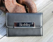 Free Engraving Black Genuine Leather Business Card Case - Engraved Gifts Business Card Holder Christmas Gift