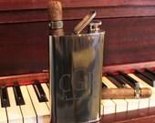 Custom Designs MONOGRAMMED Flask and Cigar Holder Combo - Free Personalization Groomsmen & Bestman Gift for Him