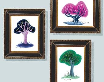 "Three Trees, Illustration, Wall Art, 5""x7"" Digital Download, Homage to Mary Blair, 3 trees, Retro Wall Art, Mid Century, Modern, Disney, Art"