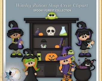 Halloween Clipart, Witchy Potion Shop Crew,