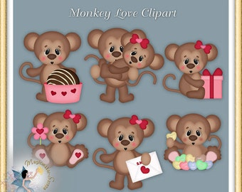 Valentine Clipart, Monkey Love