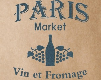 Vin et Fromage Stencil for Painting Signs Crafting DIY Wall decor