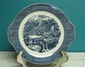 Currier and Ives The Rocky Mountain Plate ~ Handle Cake Plate ~ Royal China ~ Blue and White ~ Ironstone Plate  ~ Farmhouse Kitchen~ Cottage