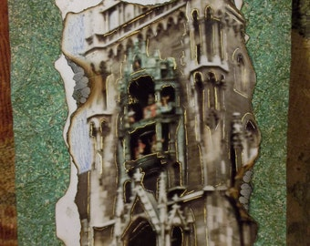 "Glock Clock Altered Photo Art Glockenspiel Munich Original Small Shabby Modern Decor Burned Photograph Collage 5"" x 7"""
