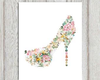 Shoe print Flower decor Fashion shoe wall art printable 5x7 8x10 Multi color High heel Shoe decor Bedroom art wall decor Mothers day gift