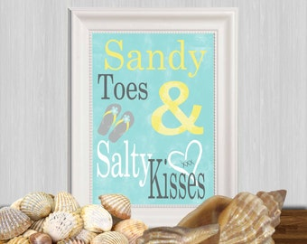 Sandy toes and salty kisses print Turquoise quote Beach quote Home wall decor Yellow gray Flip flop art printable Beach house decor DOWNLOAD