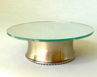 coffee table brushed nickel with mirrored top  dollhouse miniature 1/12 scale