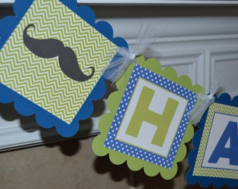 Mustache Birthday Banner - Royal Blue and Lime Green - Little Man - Mustache Bash - Mustache Party Banner - Party Packs Available