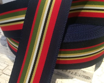 """3 YARDS 1.5"""" PREPPY Navy Red Green And More Acetate Stripe Grosgrain"""