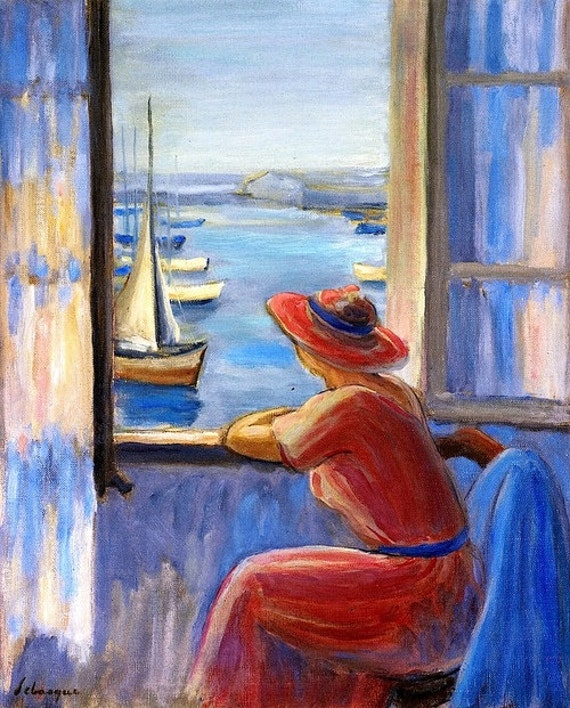 Items similar to in front of the window by henri lebasque for Matisse fenetre