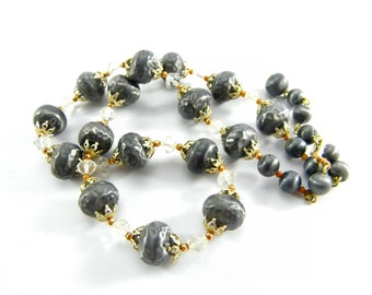 1950's Vintage Single Strand Faux Grey Pearl Necklace