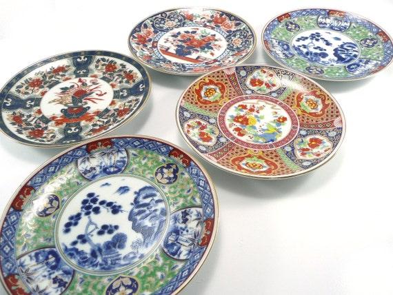 Vintage 1980's Ornate Japanese Porcelain Imari Plates Set